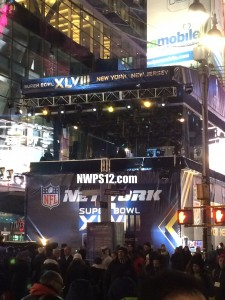 This is the souther stage of the NFL Network Super Bowl Boulavard.